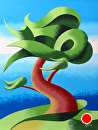 "Abstract Geometric Cypress Tree #4 Landscape Oil Painting by Mark Webster Oil ~ 8"" x 6"""