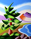 "Mark Webster - Abstract Geometric Pine Tree Landscape Oil Painting by Mark Webster Oil ~ 10"" x 8"""