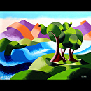 "Elephant Trees at the Watering Hole - Abstract Geometric Landscape Oil Painting by Mark Webster Oil ~ 9"" x 12"""