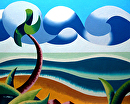 "Abstract Geometric Ocean Coast Landscape Oil Painting by Mark Webster Oil ~ 8"" x 10"""