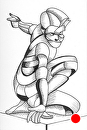 "Mark Webster - Bennett 10.23 - Abstract Geometric Figurative Ink Drawing by Mark Webster Ink ~ 6"" x 4"""