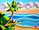"Abstract Geometric Seascape Ocean Coast with Palm Tree Sunset Oil Painting by Mark Webster Oil ~ 9"" x 12"""