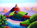 "Astro Pop Sunset - Abstract Geometric Landscape Oil Painting by Mark Webster Oil ~ 9"" x 12"""