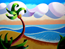 "Abstract Geometric Landscape Ocean Oil Painting 2012-02-23 by Mark Webster Oil ~ 9"" x 12"""