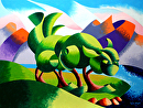 Cats Cradle Sunrise - Abstract Geometric Landscape Oil Painting by Mark Webster  ~ 9 x -