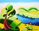 "Abstract Geometric Landscape Oil Painting 2012-03-20 by Mark Webster Oil ~ 8"" x 10"""