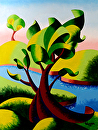 "Abstract Geometric Landscape Oil Painting 2012-03-21 by Mark Webster Oil ~ 12"" x 9"""