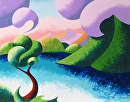 "Abstract Geometric Cloudy Mountain Lake Landscape Oil Painting 2012-04-12 by Mark Webster Oil ~ 11"" x 14"""
