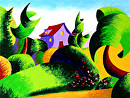 "Abstract Geometric Landscape Oil Painting - Virtual Paintout Gdansk by Mark Webster Oil ~ 9"" x 12"""