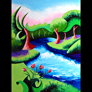 """Abstract Geometric River Landscape Oil Painting 2012-04-18 by Mark Webster Oil ~ 12"""" x 9"""""""