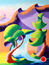 "Mark Webster - Abstract Geometric River Landscape Oil Painting 2012-04-19 by Mark Webster Oil ~ 14"" x 11"""