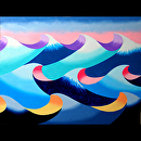"Mark Webster - Abstract Geometric Ocean Seascape Oil Painting 2012-04-25 by Mark Webster Oil ~ 11"" x 12"""