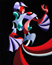 Mark Webster - Abstract Geometric Futurist Figurative Oil Painting 5-31-12 by Mark Webster Oil ~ 20 x 16