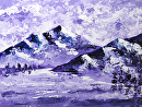 """Impressionist Purple Mountain Lake Landscape Oil Painting 2012-06-07 by Mark Webster Acrylic ~ 9"""" x 12"""