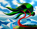 "Abstract Geometric Cypress Tree 5 - Ocean Landscape Oil Painting by Mark Webster Oil ~ 8"" x 10"""