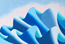 Mark Webster - Waves #3 - Abstract Geometric Ocean Landscape Oil Painting by Mark Webster Oil ~ 4 x 6