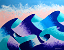 Mark Webster - Waves #4 - Abstract Geometric Ocean Landscape Oil Painting by Mark Webster Oil ~ 8 x 10