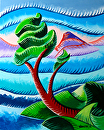 Abstract  Landscape Oil Painting 8-8-2012 by Mark Webster Oil ~ 10 x 8