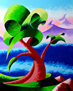 Abstract  Landscape Oil Painting 8-10-2012 by Mark Webster Oil ~ 10 x 8