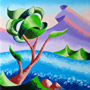 Abstract Rough Futurist Landscape Oil Painting by Mark Webster Oil ~ 5 x 5