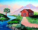 Mountain Barn Landscape Oil Painting 09-06-2012 by Mark Webster Oil ~ 8 x 10