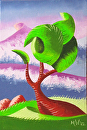 Mark Webster - Abstract Rough Futurist Landscape Oil Painting 6x4 by Mark Webster Oil ~ 6 x 4