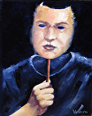 "Mark Webster - Self Portrait Mask Oil Painting by Mark Webster Oil ~ 10"" x 8"""