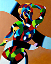 """Mark Webster - Abstract Geometric Futurist Figurative Oil Painting 2012-09-28 by Mark Webster Oil ~ 20 x 16"""""""