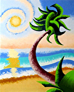 "Abstract Geometric Palm Tree Ocean Landscape Oil Painting 10-04-2012 by Mark Webster Oil ~ 10"" x 8"""
