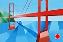 "Abstract Geometric Golden Gate Bridge Acrylic Landscape Painting by Mark Webster Acrylic ~ 24"" x 36"""