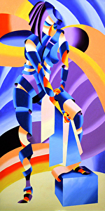 "Shandra 323 - Abstract Geometric Figurative Oil Painting by Mark Webster Oil ~ 48"" x 24"""