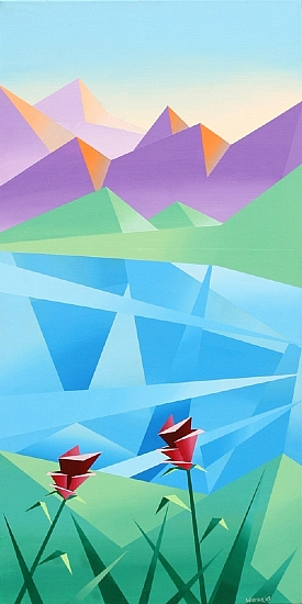 "Abstract Sunrise at the Mountain Lake by Mark Webster Acrylic ~ 36"" x 18"""