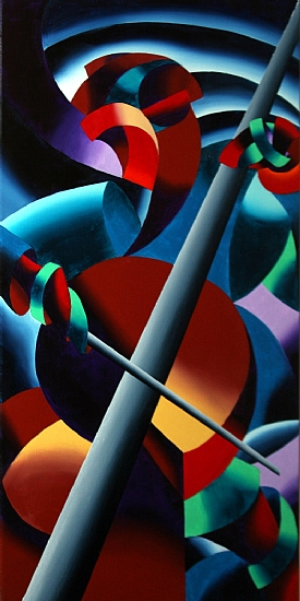 """Futurist Cellist Painting by Mark Webster Oil ~ 30"""" x 15"""""""