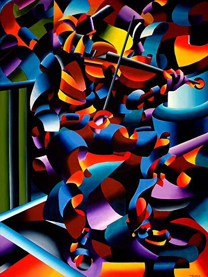 "The Violin Player in Paris - Abstract Futurist Oil Painting by Artist Mark Webster by Mark Webster Oil ~ 40"" x 30"""