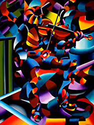 Daily Painters Blog - The Violin Player in Paris Oil Painting - Abstract Futurism - A Painting a Day by Northern California Artist Mark Webster