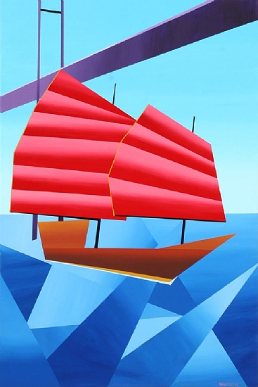"""Abstract Asian Boat in the Harbor by Mark Webster Acrylic ~ 36"""" x 24"""""""