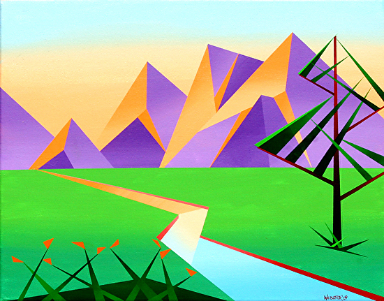"""Abstract Geometric Mountain River at Sunset with Flowers Acrylic Painting by Mark Webster Acrylic ~ 16"""" x 20"""""""