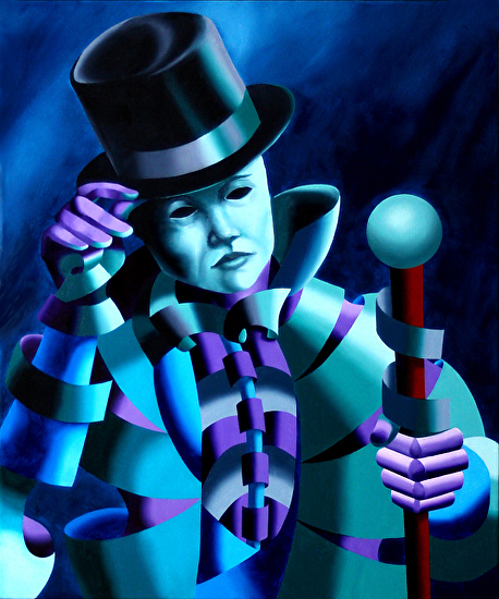 """Mark Webster - Mask of the Magician - Abstract Geometric Futurist Figurative Oil Painting by Mark Webster Oil ~ 24"""" x 20"""""""