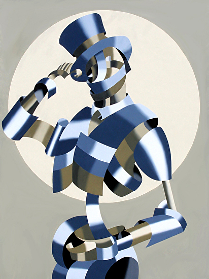 """Abstract Geometric Grayscale Circus Ringleader Oil Painting by Mark Webster Oil ~ 48"""" x 36"""""""