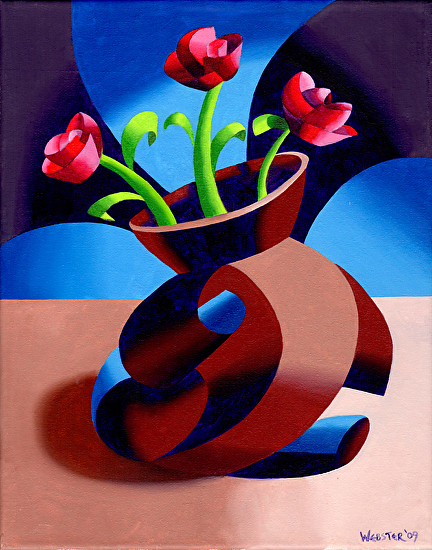 """Futurist Dancing Abstract Flower Pot Still Life Oil Painting - Step One by Mark Webster Oil ~ 14"""" x 11"""""""