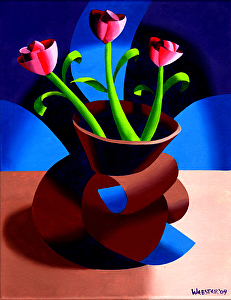 """Futurist Dancing Abstract Flower Pot Still Life Oil Painting - Step Two by Mark Webster Oil ~ 14"""" x 11"""""""