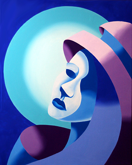 "Mask On The Moon by Mark Webster Oil ~ 20"" x 16'"