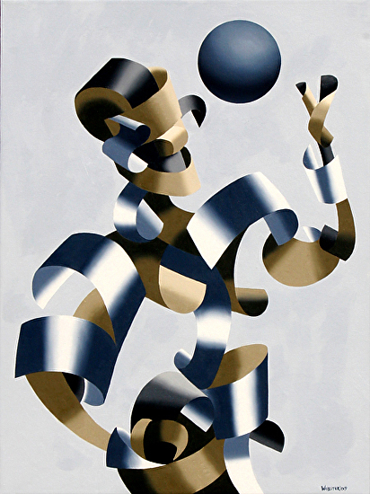 """Man of the Future - Abstract Futurist Figurative Oil Painting by Mark Webster Oil ~ 24"""" x 18"""""""