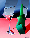 "Abstract Wine Bottle with Glass by Mark Webster Acrylic ~ 20"" x 16"""