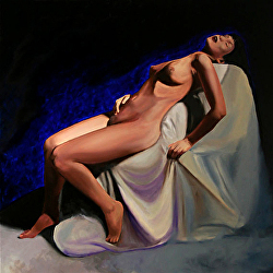 "Mandy Nude 36x36"" - Original Oil Painting by Artist Mark Webster."