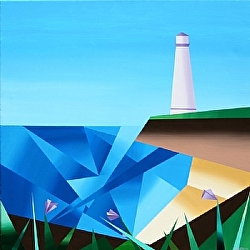 Daily Painters Blog - Abstract Cubist Lighthouse Acrylic Painting - A Painting A Day by Northern California Artist Mark Webster