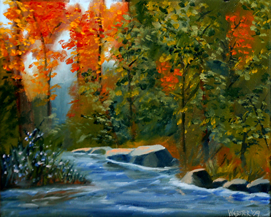 "Autumn Forest Creek Oil Painting by Sacramento Artist Mark Webster by Mark Webster Oil ~ 8"" x 10"""