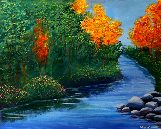 """The Autumn Brook Acrylic Landscape Painting by Northern California Artist Mark Webster by Mark Webster Acrylic ~ 16"""" x 20"""""""