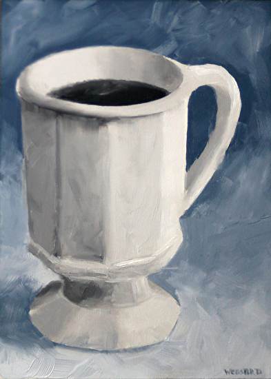 """Coffee Cup Oil Painting - Black and White Oil Painting by Northern California Artist Mark Webster by Mark Webster Oil ~ 7"""" x 5"""""""