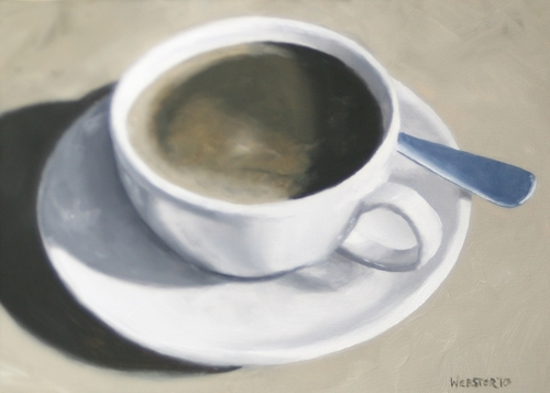 """Coffee Cup with Spoon Oil Painting 02/13/2010 - Black and White Oil Painting by Mark Webster Oil ~ 5"""" x 7"""""""